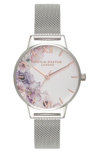 Women's Olivia Burton Watercolour Florals Mesh Strap Watch, 30Mm