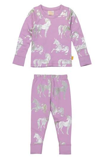 Toddler Girls Masala Baby Unicorn Organic Cotton Fitted TwoPiece Pajamas