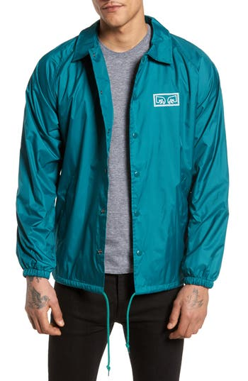 Men's Obey Eyes Coaches Jacket, Size Small - Blue/green
