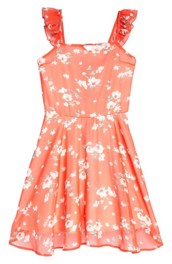 Girl's Miss Behave Floral Ruffle Dress, Size 8 - Orange