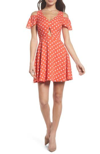 Women's Ali & Jay Polka Dot Cold Shoulder Fit & Flare Dress, Size X-Small - Orange