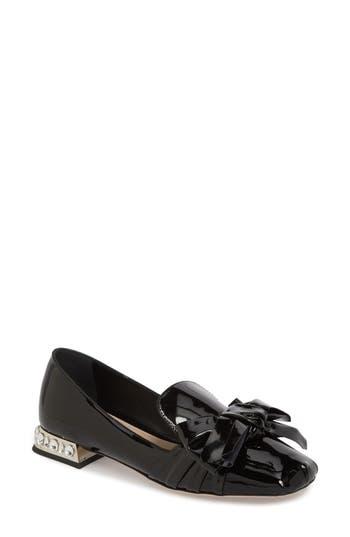 Women's Miu Miu Embellished Heel Bow Loafer, Size 4US / 34EU - Black
