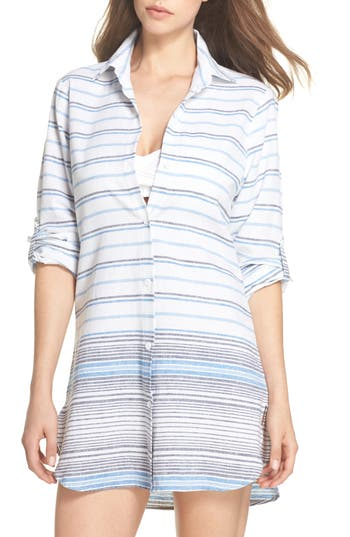 Tommy Bahama Stripe Linen & Cotton Cover-Up Tunic, White