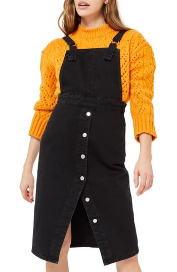 Women's Topshop Black Denim Midi Pinafore Dress, Size 2 US (fits like 0) - Black