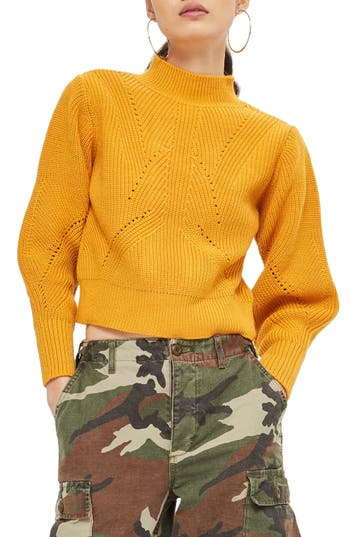 Women's Topshop Lace-Up Back Sweater, Size 4 US (fits like 0-2) - Yellow