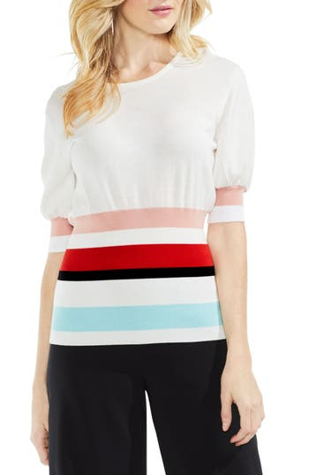 Women's Vince Camuto Elbow Bubble Sleeve Colorblock Sweater, Size XX-Small - White