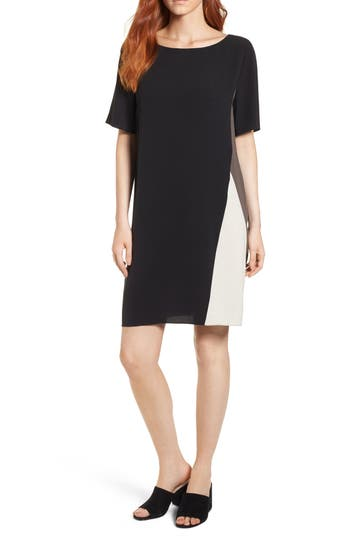 Eileen Fisher Colorblock Silk Georgette Crepe Dress, Black