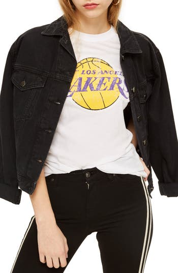 Women's Topshop X Unk Lakers Graphic Tee, Size Large - White