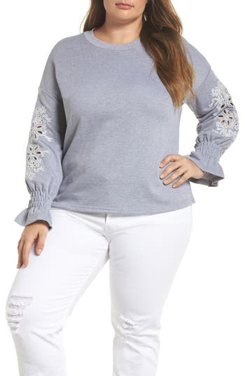 plus size women's lost ink broderie anglaise embellished sweatshirt