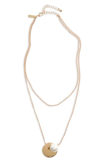 Women's Topshop Layer Imitation Pearl Necklace