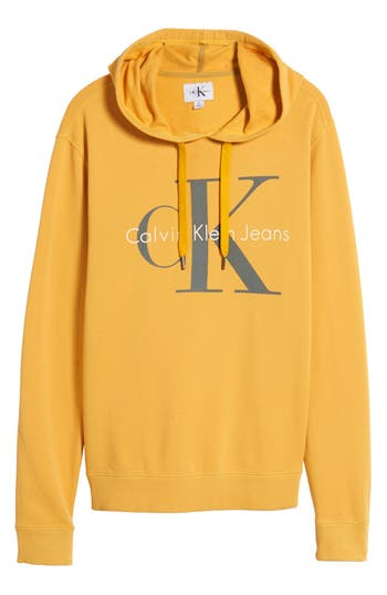 Men's Calvin Klein Jeans Pop Color Hoodie, Size Small - Yellow