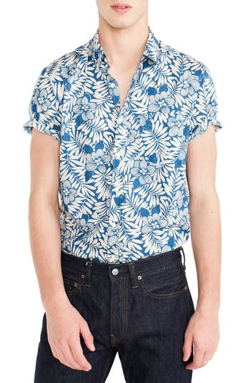 J.crew Secret Wash Short Sleeve Fern Print Sport Shirt, Blue