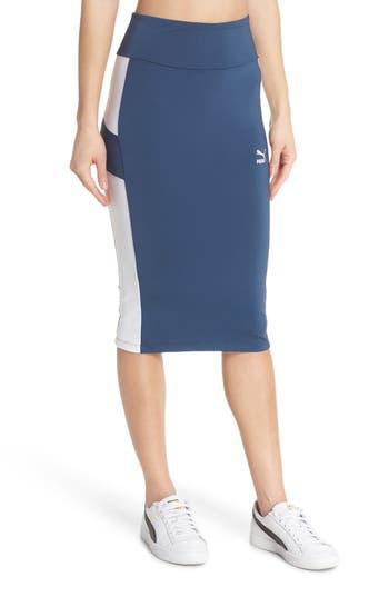 Puma Archive Logo Pencil Skirt, Blue