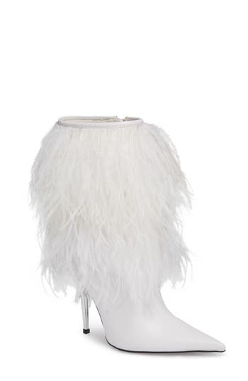 Jeffrey Campbell Fly4U Ostrich Feather Bootie, White