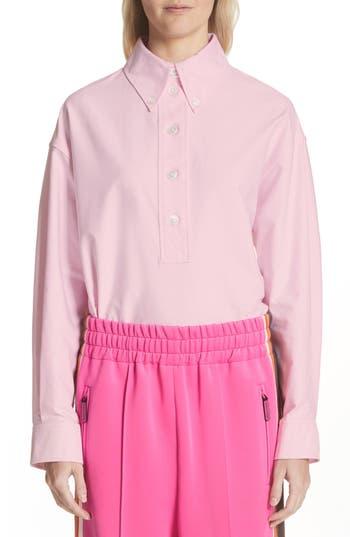 Women's Marc Jacobs Oversize Half Placket Shirt, Size 0 - Pink