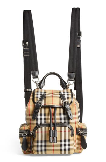 Burberry Small Rucksack Check Cotton Backpack - Beige