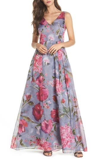 Adrianna Papell Flower Print Organza Gown