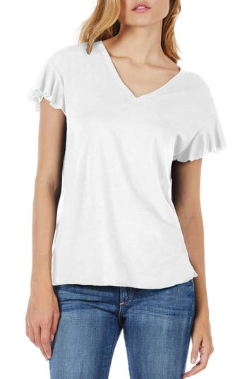 Michael Stars Ruffle Sleeve V-Neck Tee, Size One Size - White