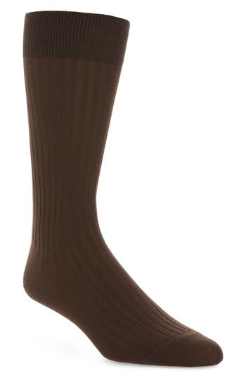 John W. Nordstrom® Ribbed Pima Cotton Crew Socks