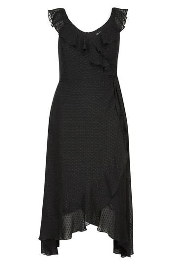 plus size women's city chic dot fil coupe ruffle maxi dress, size large - black