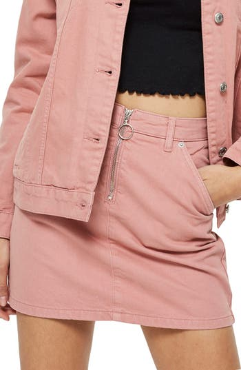 Topshop Half Zip Denim Skirt, US (fits like 0) - Pink