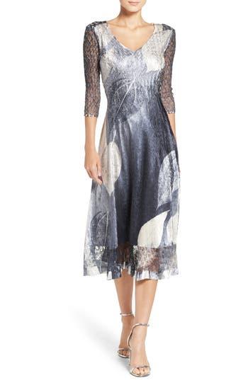 Komarov Print Charmeuse & Lace A-Line Dress