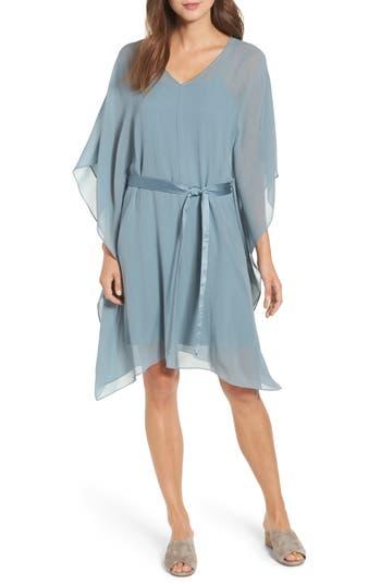 Eileen Fisher Belted Silk Caftan Dress, Blue