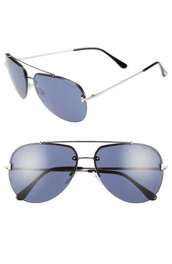 Tom Ford Brad 6m Metal Aviator Sunglasses - Black/ Smoke/ Silver