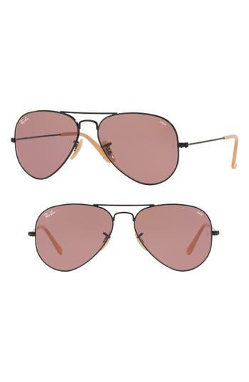 Ray-Ban 5m Polarized Photochromic Aviator Sunglasses - Violet