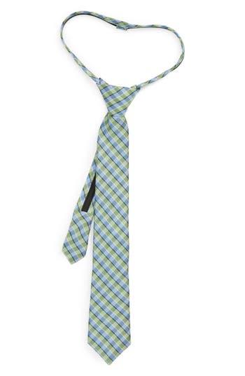Boys Nordstrom Circus Check Silk Zip Tie Size Big Boy  Green