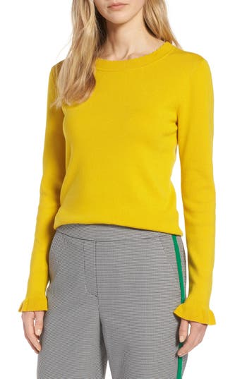 Halogen® Scallop Trim Sweater