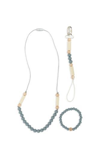 Infant Bella Tunno Grey Teething Necklace Bracelet  Pacifier Clip Set
