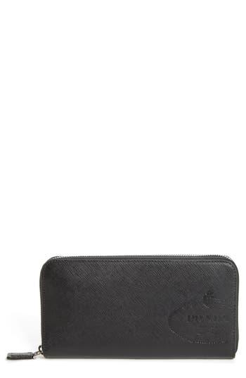 Prada Long Zip Around Saffiano Leather Wallet