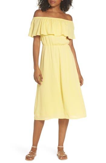 Charles Henry Off The Shoulder Ruffle Midi Dress, Yellow