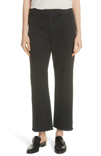 Eileen Fisher Frayed Hem Pull-On Ankle Jeans
