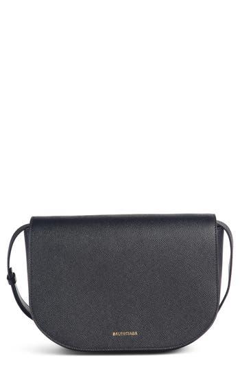 Balenciaga Small Ville Logo Leather Saddle Bag