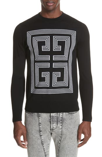 Mens Givenchy 4G Intarsia Wool Sweater Size Small  Black