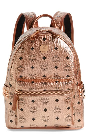 MCM Small Stark Side Stud Coated Canvas Backpack