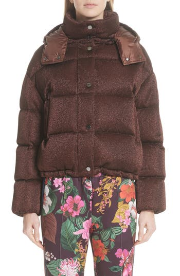 Moncler Caille Metallic Quilted Down Jacket
