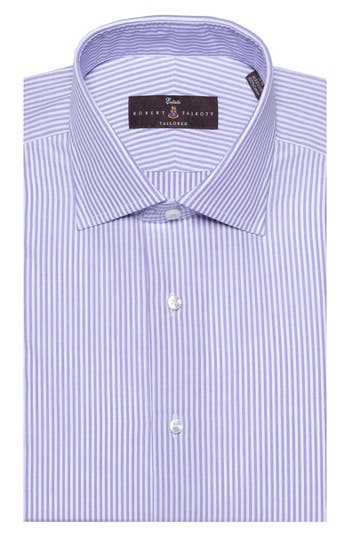 Men's Robert Talbott Tailored Fit Stripe Dress Shirt, Size 15.5 - Purple