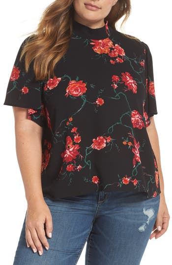Plus Size Women's Bp. Floral Print Mock Neck Blouse