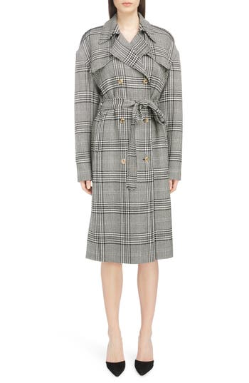Women's Magda Butrym Checked Double Breasted Wool Coat, Size 2 US / 34 FR - Grey