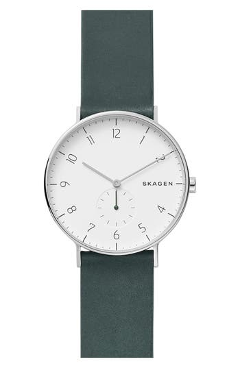 Skagen Aaren Leather Strap Watch, 40mm