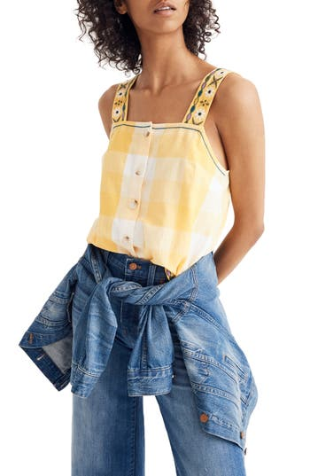 MADEWELL EMBROIDERED CHECK CAMISOLE