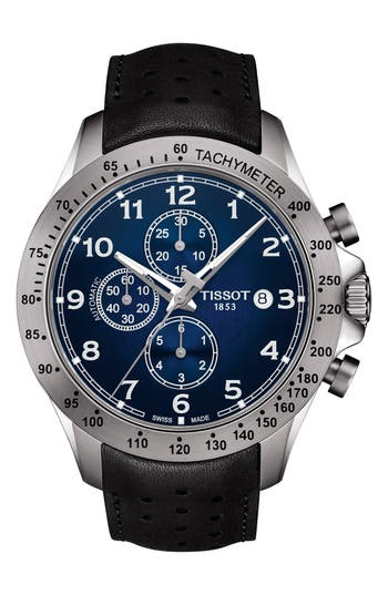 Tissot V8 Automatic Chronograph Leather Strap Watch, 45mm