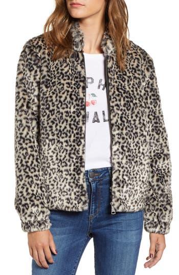 Vigoss Leopard Print Faux Fur Bomber Jacket