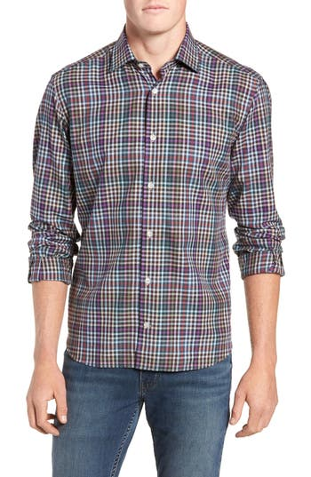 Men's Culturata Tailored Fit Check Sport Shirt, Size Small - Grey