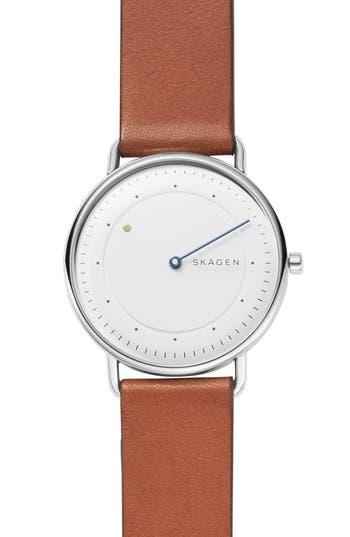 Skagen Horisont Leather Strap Watch, 40mm