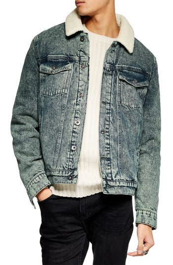 Topman Acid Wash Faux Shearling Denim Jacket