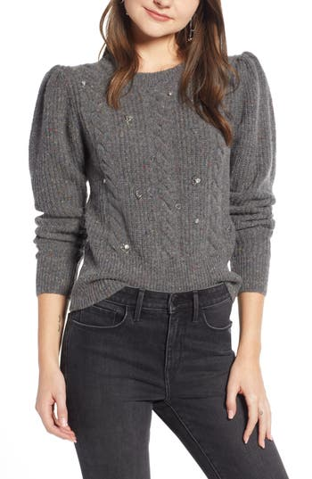 Something Navy Jewel Deco Cable Sweater